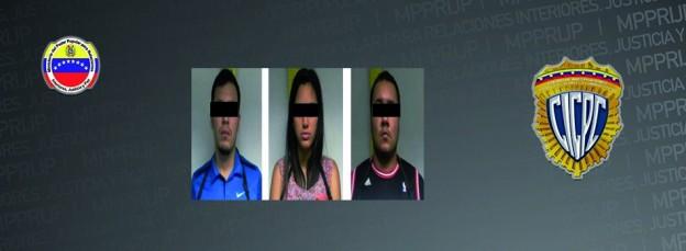CICPC captura tres personas dedicadas al robo de vehículos